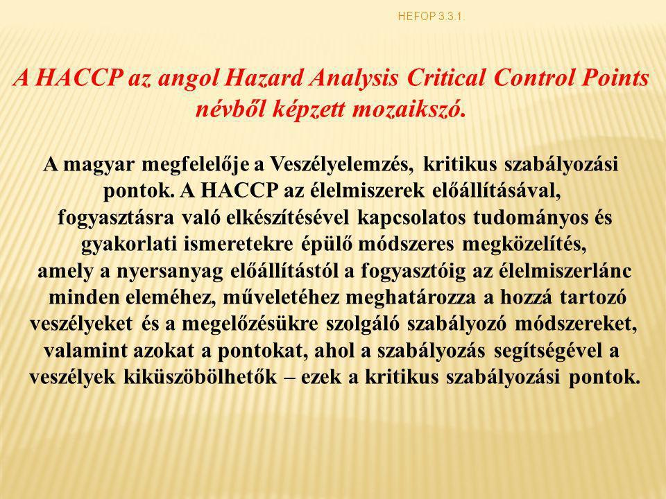 A HACCP az angol Hazard Analysis Critical Control Points névből képzett mozaikszó. A magyar megfelelője a Veszélyelemzés, kritikus szabályozási pontok