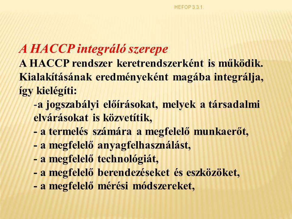 HEFOP 3.3.1. A HACCP integráló szerepe A HACCP rendszer keretrendszerként is működik. Kialakításának eredményeként magába integrálja, így kielégíti: -