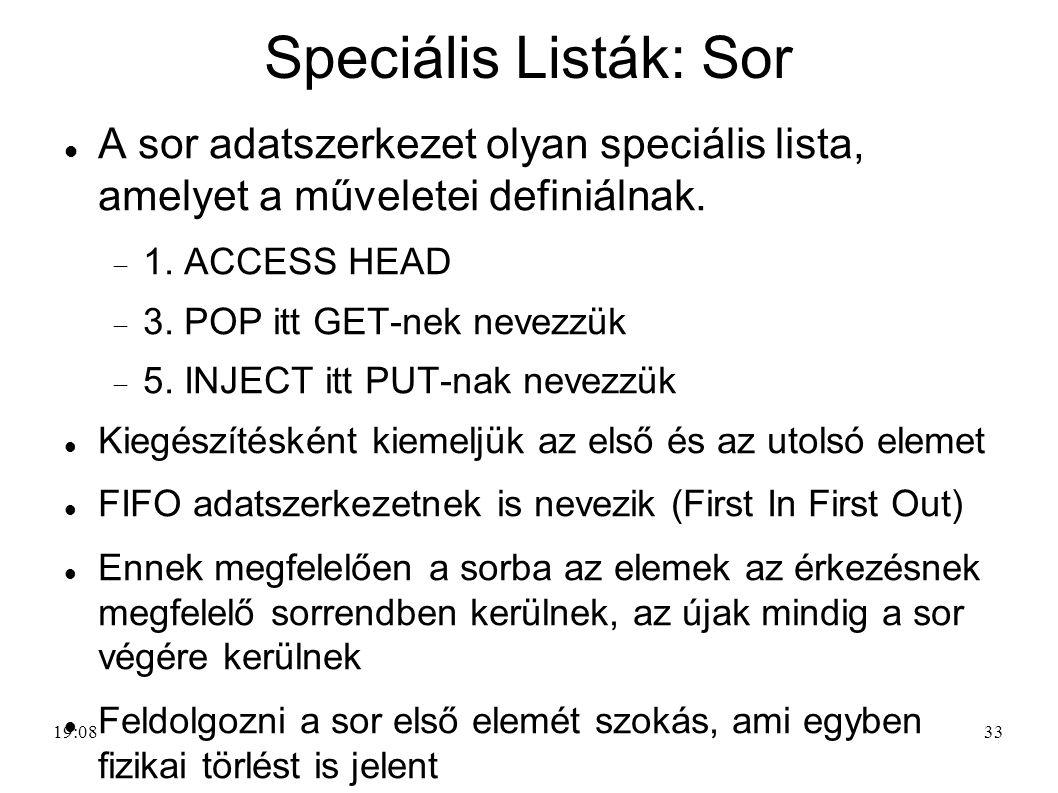 33 Speciális Listák: Sor A sor adatszerkezet olyan speciális lista, amelyet a műveletei definiálnak.  1. ACCESS HEAD  3. POP itt GET-nek nevezzük 