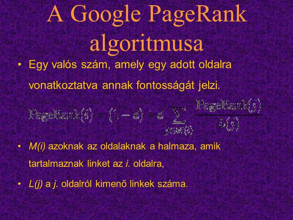 A Google PageRank algoritmusa Egy valós szám, amely egy adott oldalra vonatkoztatva annak fontosságát jelzi. M(i) azoknak az oldalaknak a halmaza, ami