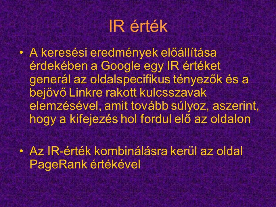 IR érték A keresési eredmények előállítása érdekében a Google egy IR értéket generál az oldalspecifikus tényezők és a bejövő Linkre rakott kulcsszavak