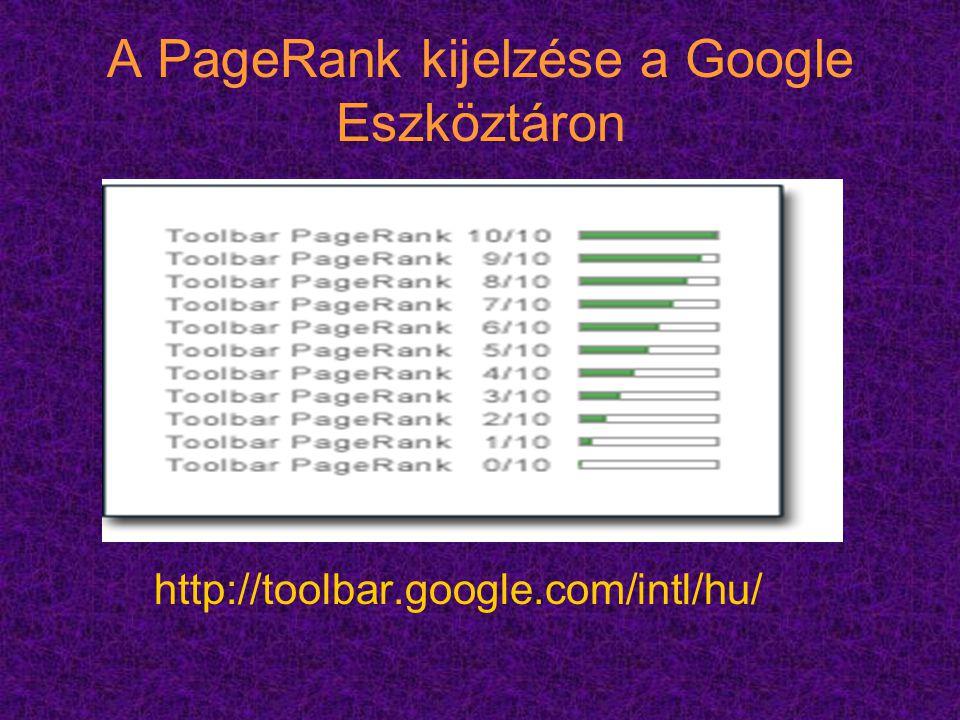 A PageRank kijelzése a Google Eszköztáron http://toolbar.google.com/intl/hu/