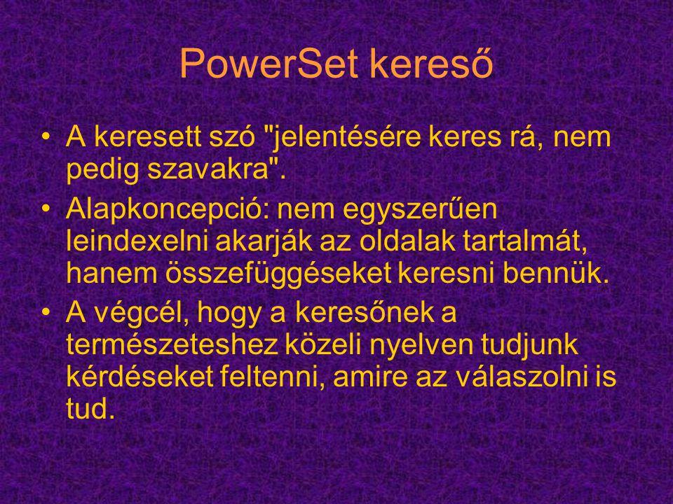 PowerSet kereső A keresett szó