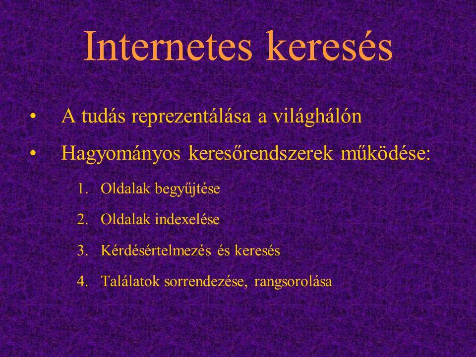 Internetes keresés A tudás reprezentálása a világhálón Hagyományos keresőrendszerek működése: 1.Oldalak begyűjtése 2.Oldalak indexelése 3.Kérdésértelm