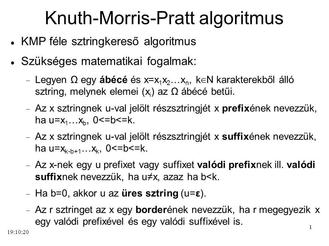 11 Knuth-Morris-Pratt algoritmus KMP féle sztringkereső algoritmus Szükséges matematikai fogalmak:  Legyen Ω egy ábécé és x=x 1 x 2 …x n, k ∈ N karak
