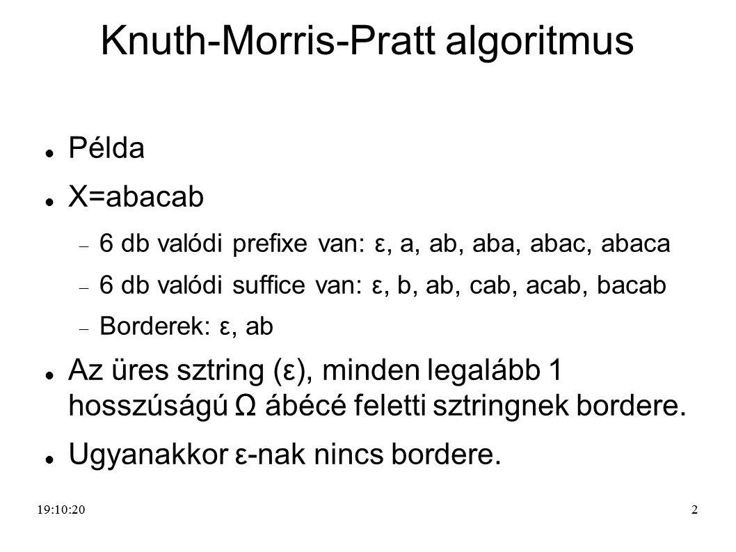 22 Knuth-Morris-Pratt algoritmus Példa X=abacab  6 db valódi prefixe van: ε, a, ab, aba, abac, abaca  6 db valódi suffice van: ε, b, ab, cab, acab,