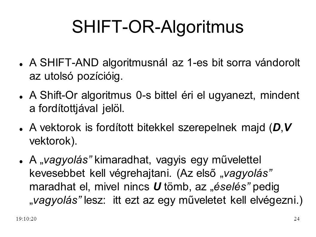 24 SHIFT-OR-Algoritmus A SHIFT-AND algoritmusnál az 1-es bit sorra vándorolt az utolsó pozícióig. A Shift-Or algoritmus 0-s bittel éri el ugyanezt, mi