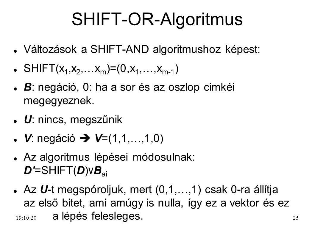 25 SHIFT-OR-Algoritmus Változások a SHIFT-AND algoritmushoz képest: SHIFT(x 1,x 2,…x m )=(0,x 1,…,x m-1 ) B: negáció, 0: ha a sor és az oszlop cimkéi