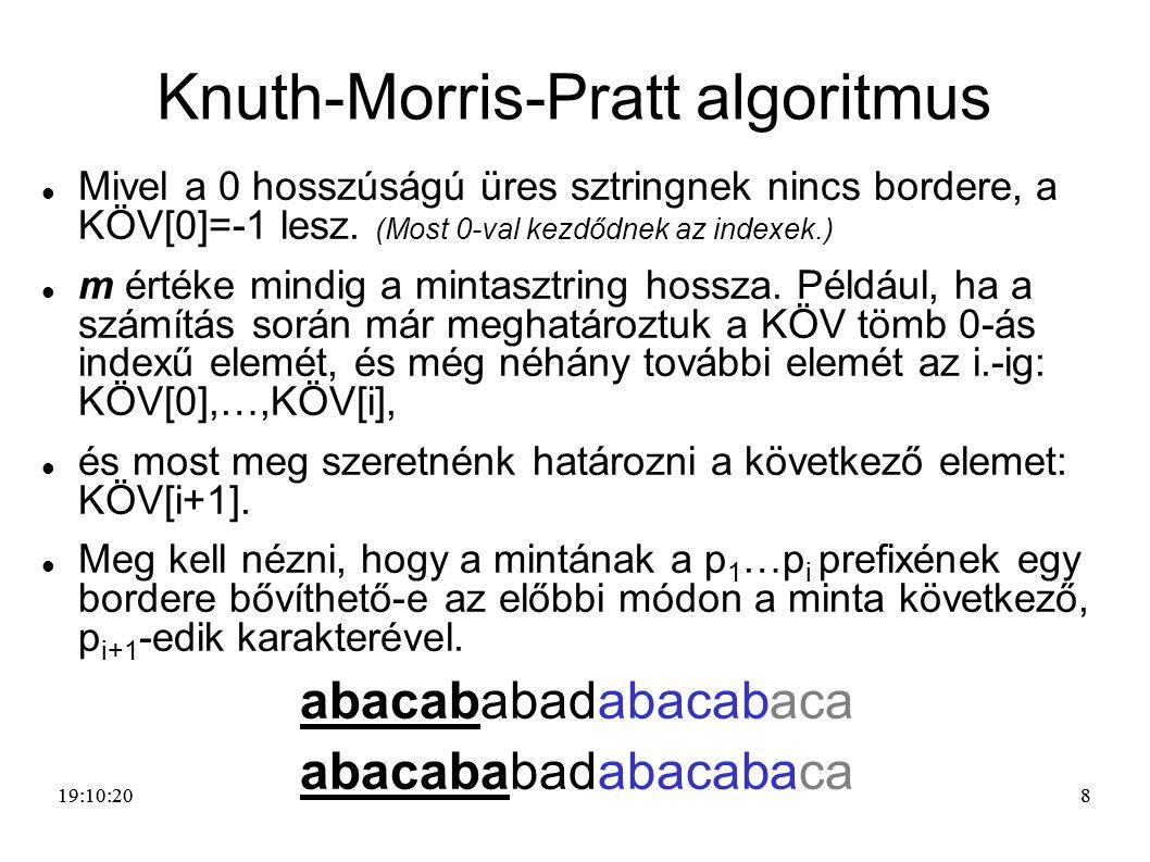 88 Knuth-Morris-Pratt algoritmus Mivel a 0 hosszúságú üres sztringnek nincs bordere, a KÖV[0]=-1 lesz. (Most 0-val kezdődnek az indexek.) m értéke min