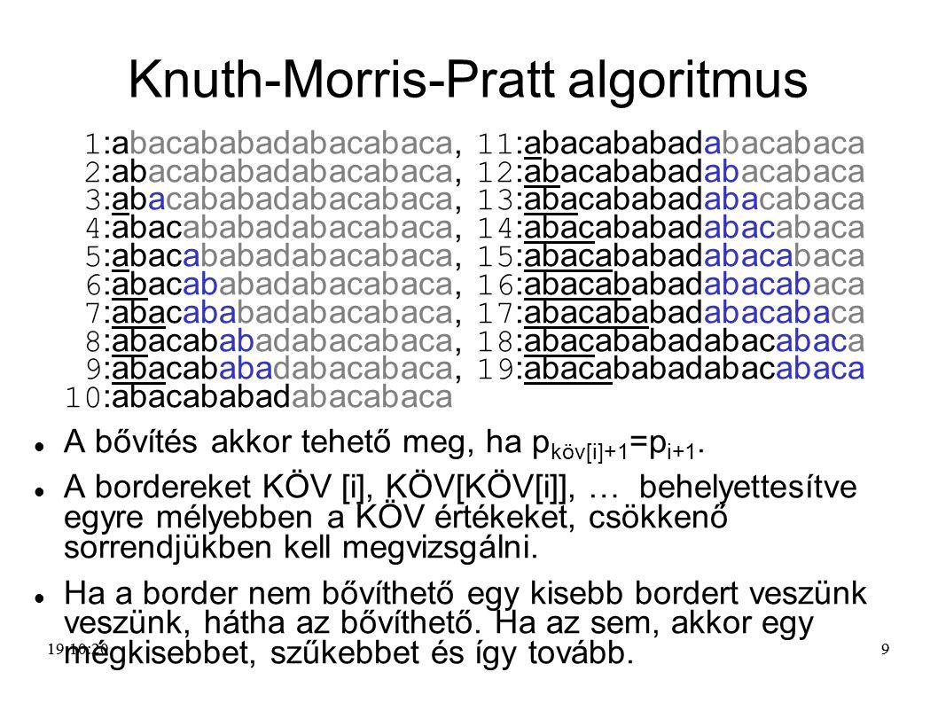99 Knuth-Morris-Pratt algoritmus 1 :abacababadabacabaca, 11 :abacababadabacabaca 2 :abacababadabacabaca, 12 :abacababadabacabaca 3 :abacababadabacabac