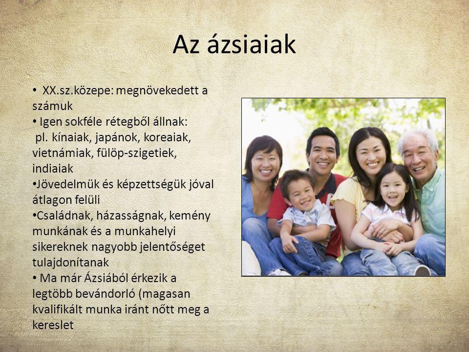 Az ázsiaiak XX.sz.közepe: megnövekedett a számuk Igen sokféle rétegből állnak: pl. kínaiak, japánok, koreaiak, vietnámiak, fülöp-szigetiek, indiaiak J