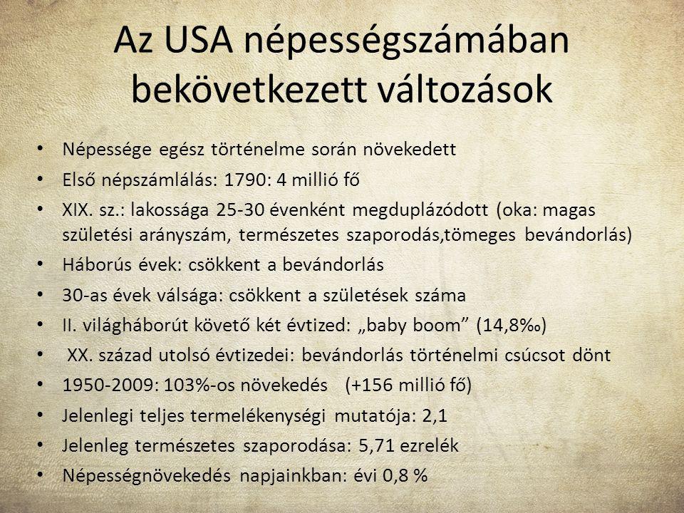 Az USA népességszámában bekövetkezett változások Népessége egész történelme során növekedett Első népszámlálás: 1790: 4 millió fő XIX. sz.: lakossága