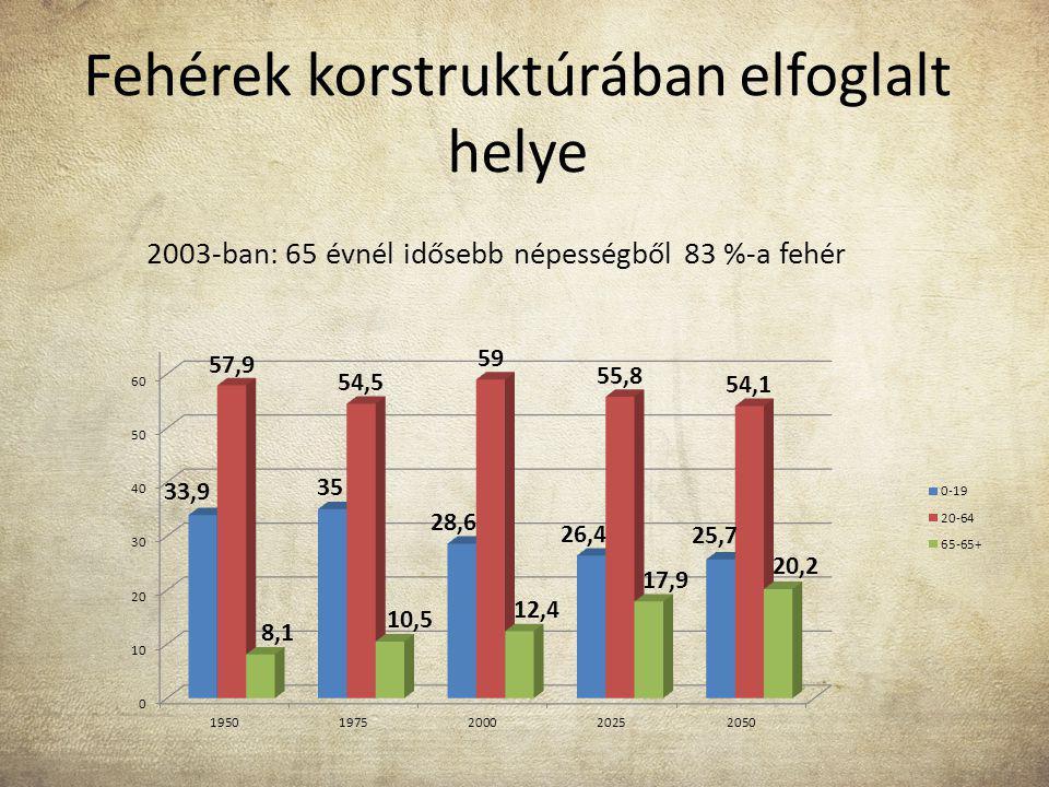 Fehérek korstruktúrában elfoglalt helye 2003-ban: 65 évnél idősebb népességből 83 %-a fehér