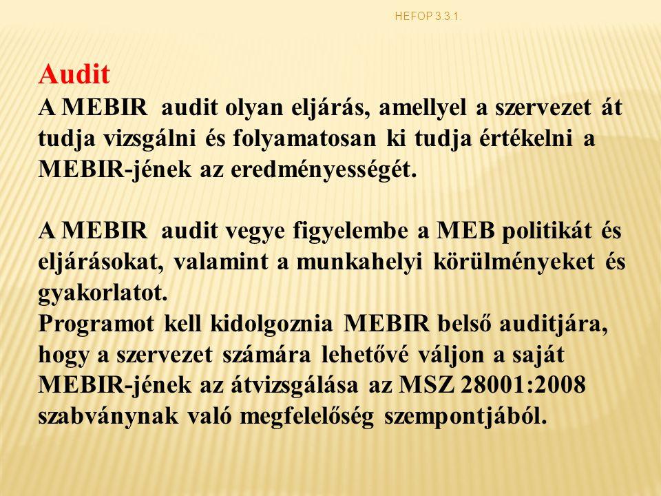 HEFOP 3.3.1. Audit A MEBIR audit olyan eljárás, amellyel a szervezet át tudja vizsgálni és folyamatosan ki tudja értékelni a MEBIR-jének az eredményes