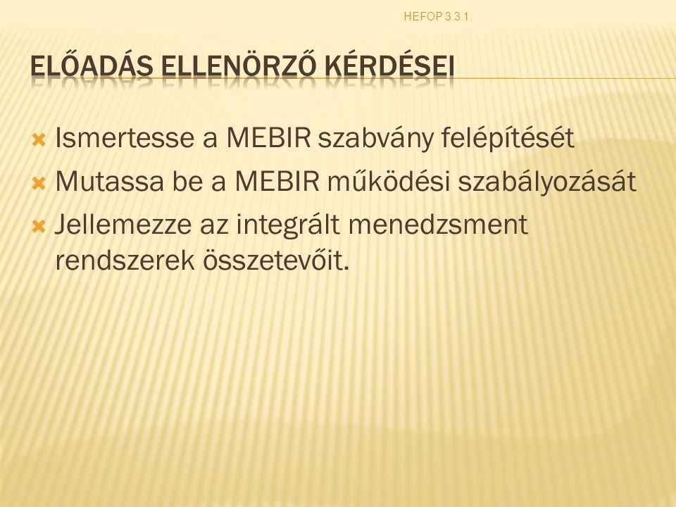  Ismertesse a MEBIR szabvány felépítését  Mutassa be a MEBIR működési szabályozását  Jellemezze az integrált menedzsment rendszerek összetevőit. HE