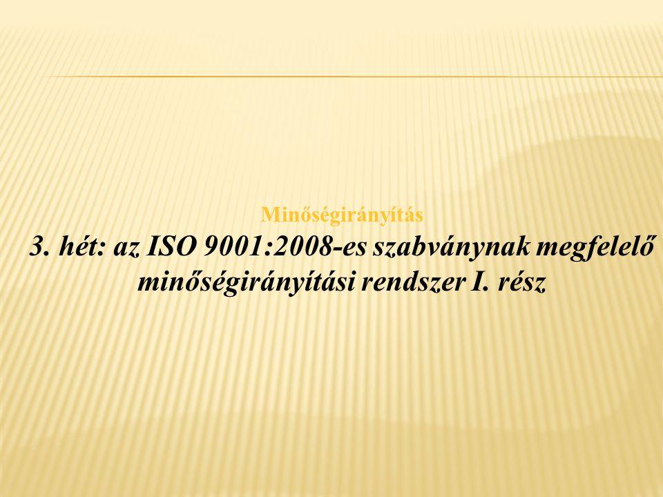 Minőségirányítás 3.hét: az ISO 9001:2008-es szabványnak megfelelő minőségirányítási rendszer I.