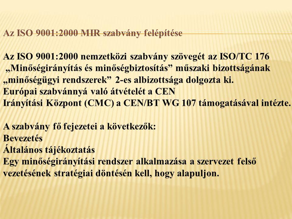 """Az ISO 9001:2000 MIR szabvány felépítése Az ISO 9001:2000 nemzetközi szabvány szövegét az ISO/TC 176 """"Minőségirányítás és minőségbiztosítás műszaki bizottságának """"minőségügyi rendszerek 2-es albizottsága dolgozta ki."""