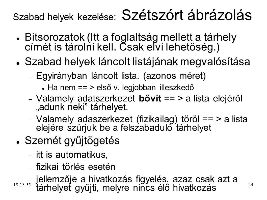 24 Szabad helyek kezelése: Szétszórt ábrázolás Bitsorozatok (Itt a foglaltság mellett a tárhely címét is tárolni kell. Csak elvi lehetőség.) Szabad he