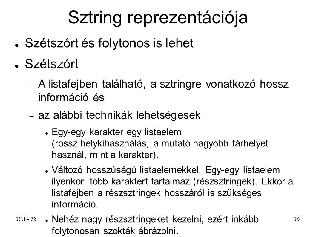 16 Sztring reprezentációja Szétszórt és folytonos is lehet Szétszórt  A listafejben található, a sztringre vonatkozó hossz információ és  az alábbi