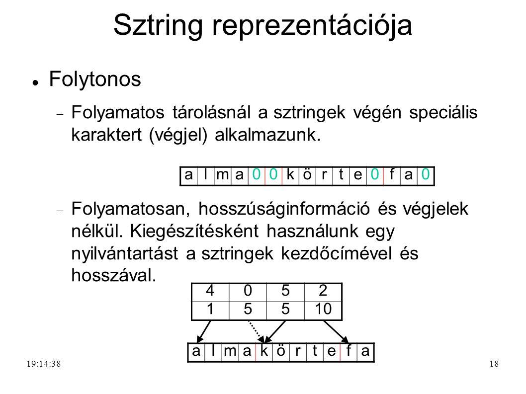 18 Sztring reprezentációja Folytonos  Folyamatos tárolásnál a sztringek végén speciális karaktert (végjel) alkalmazunk.  Folyamatosan, hosszúságinfo