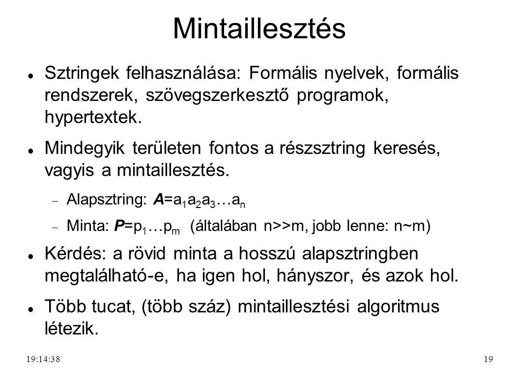 19 Mintaillesztés Sztringek felhasználása: Formális nyelvek, formális rendszerek, szövegszerkesztő programok, hypertextek. Mindegyik területen fontos