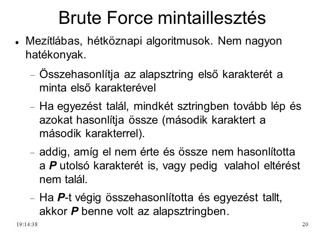20 Brute Force mintaillesztés Mezítlábas, hétköznapi algoritmusok. Nem nagyon hatékonyak.  Összehasonlítja az alapsztring első karakterét a minta els