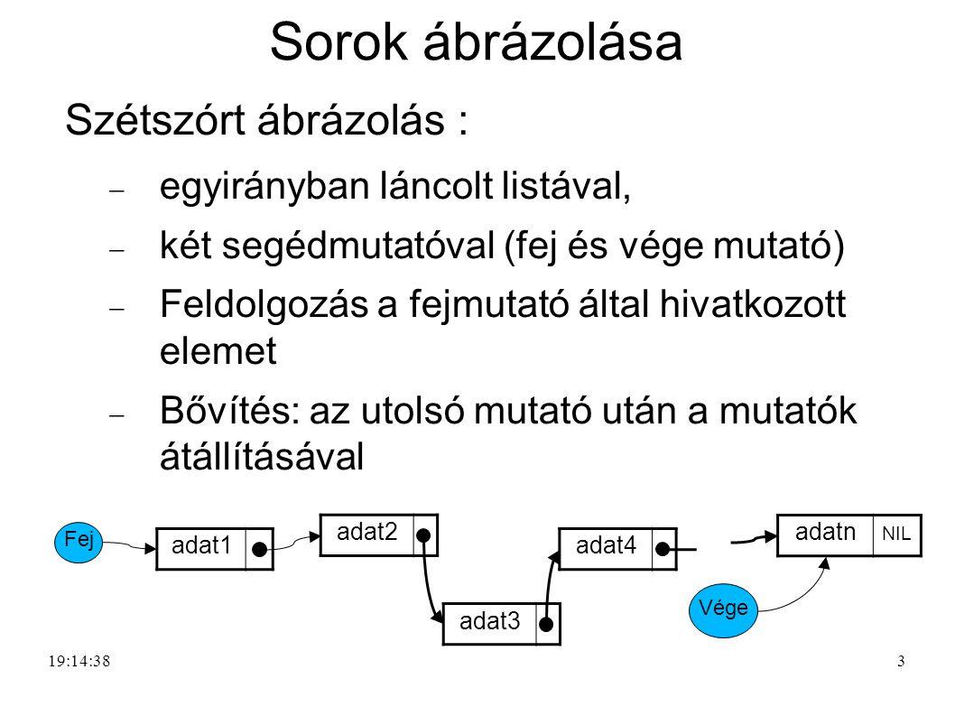 3 Sorok ábrázolása Szétszórt ábrázolás :  egyirányban láncolt listával,  két segédmutatóval (fej és vége mutató)  Feldolgozás a fejmutató által hiv