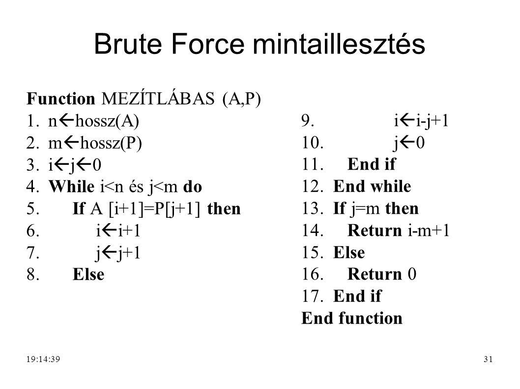 31 Brute Force mintaillesztés Function MEZÍTLÁBAS (A,P) 1. n  hossz(A) 2. m  hossz(P) 3. i  j  0 4. While i<n és j<m do 5. If A [i+1]=P[j+1] then