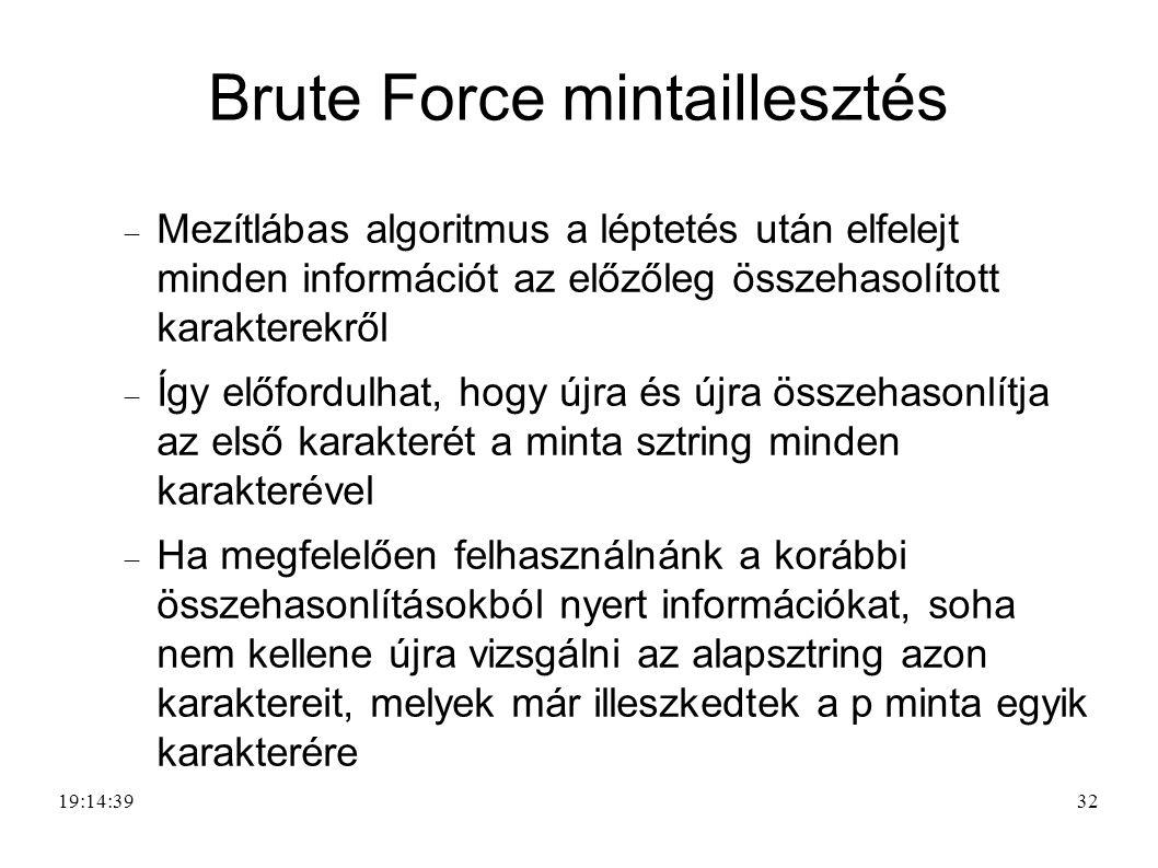 32 Brute Force mintaillesztés  Mezítlábas algoritmus a léptetés után elfelejt minden információt az előzőleg összehasolított karakterekről  Így előf
