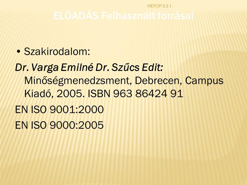 ELŐADÁS Felhasznált forrásai Szakirodalom: Dr. Varga Emilné Dr. Szűcs Edit: Minőségmenedzsment, Debrecen, Campus Kiadó, 2005. ISBN 963 86424 91 EN ISO