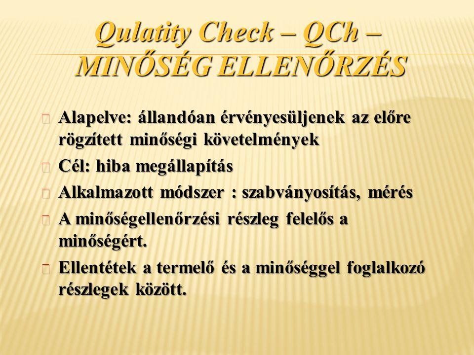 Qulatity Check – QCh – MINŐSÉG ELLENŐRZÉS ¬ Alapelve: állandóan érvényesüljenek az előre rögzített minőségi követelmények ¬ Cél: hiba megállapítás ¬ A