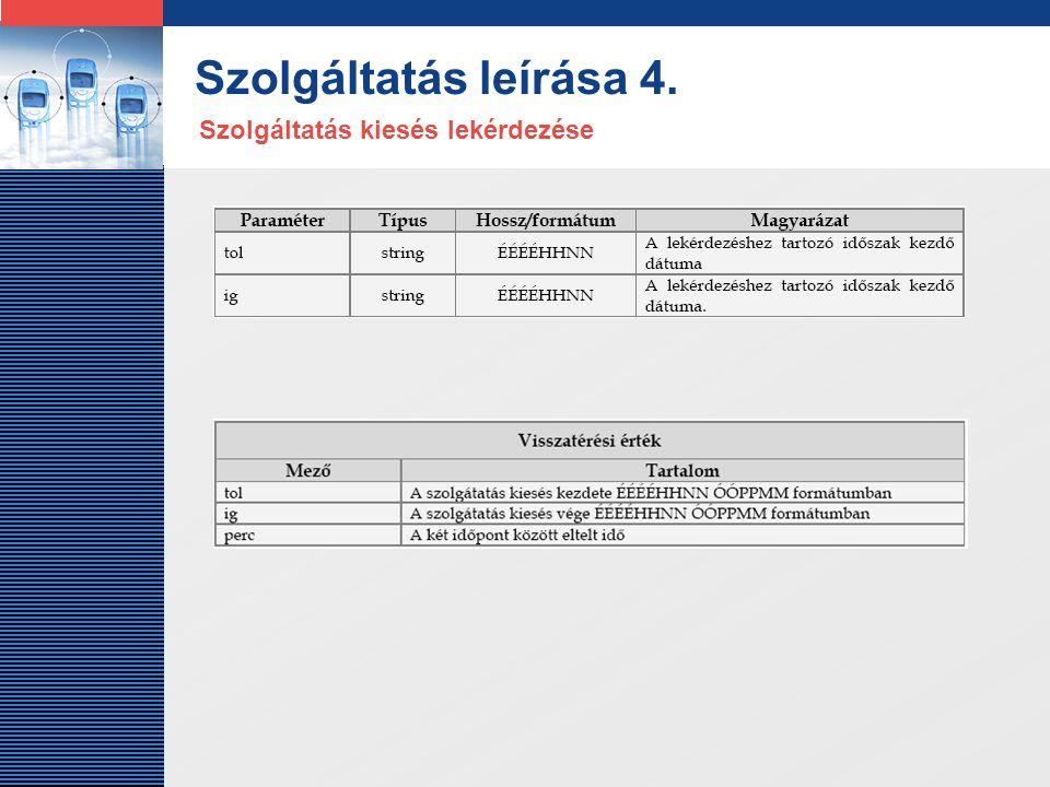 LOGO Szolgáltatás leírása 4. Szolgáltatás kiesés lekérdezése