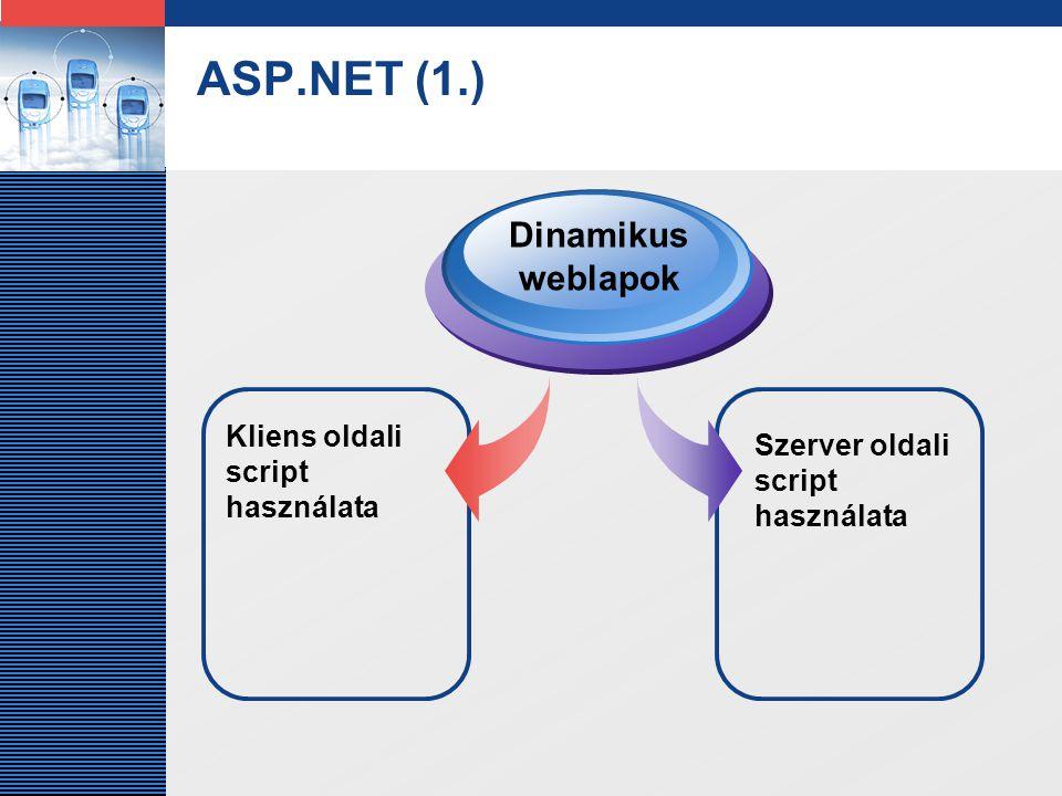 LOGO ASP.NET (1.) Kliens oldali script használata Dinamikus weblapok Szerver oldali script használata