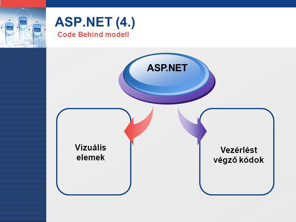 LOGO ASP.NET (5.) Webszolgáltatások fejlesztéséhez is nagy segítséget nyújt az ASP.NET: a szerver és a kliens között a SOAP (Simple Object Access Protocol) üzenetkezelõ protokolon keresztül, XML üzenetek formájában folyik a kommunikáció.