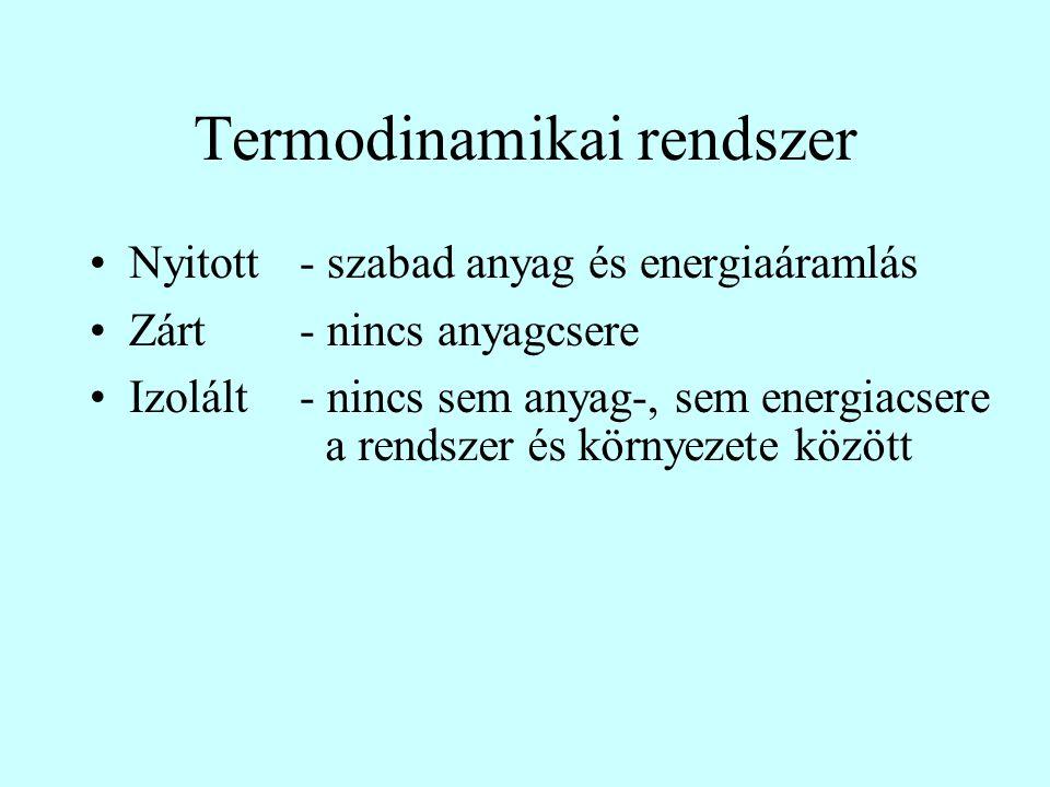 Termodinamikai rendszer Nyitott- szabad anyag és energiaáramlás Zárt- nincs anyagcsere Izolált- nincs sem anyag-, sem energiacsere a rendszer és körny
