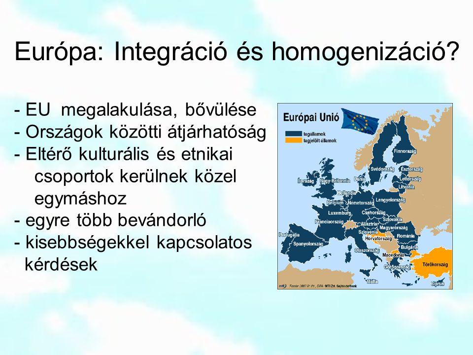 Európa: Integráció és homogenizáció? - EU megalakulása, bővülése - Országok közötti átjárhatóság - Eltérő kulturális és etnikai csoportok kerülnek köz