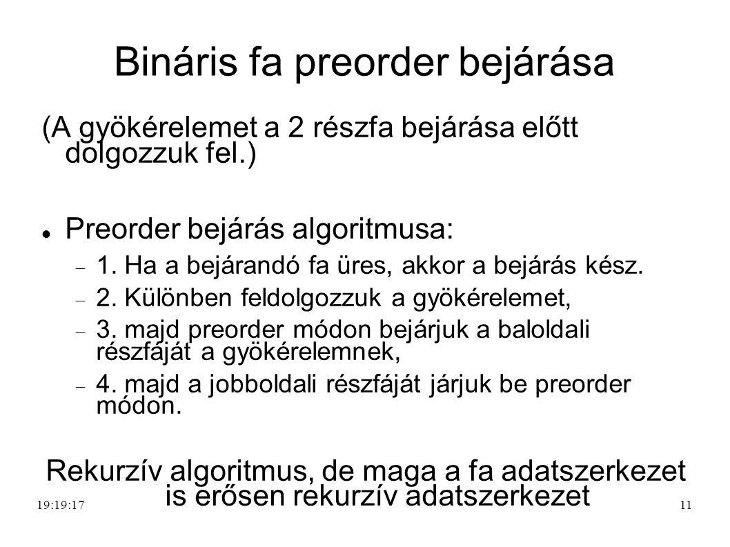 11 Bináris fa preorder bejárása (A gyökérelemet a 2 részfa bejárása előtt dolgozzuk fel.) Preorder bejárás algoritmusa:  1.