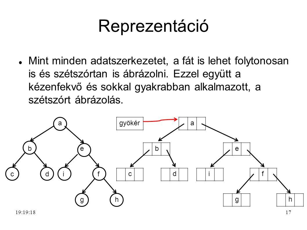 17 Reprezentáció Mint minden adatszerkezetet, a fát is lehet folytonosan is és szétszórtan is ábrázolni.