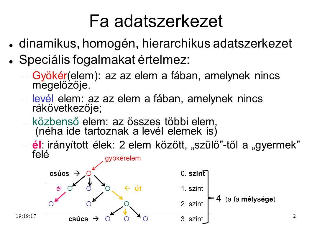 2 Fa adatszerkezet dinamikus, homogén, hierarchikus adatszerkezet Speciális fogalmakat értelmez:  Gyökér(elem): az az elem a fában, amelynek nincs megelőzője.
