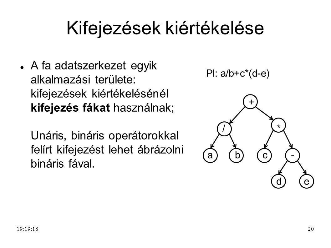 20 Kifejezések kiértékelése A fa adatszerkezet egyik alkalmazási területe: kifejezések kiértékelésénél kifejezés fákat használnak; Unáris, bináris operátorokkal felírt kifejezést lehet ábrázolni bináris fával.