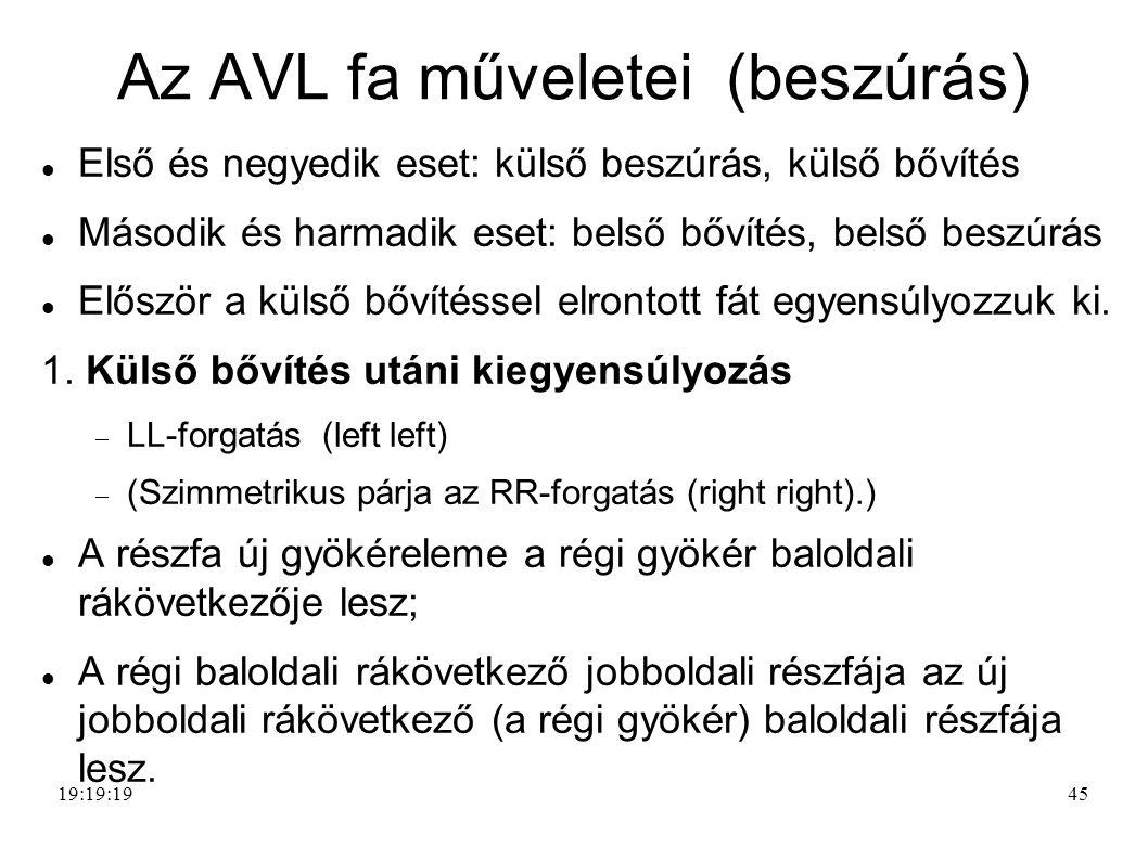 45 Az AVL fa műveletei (beszúrás) Első és negyedik eset: külső beszúrás, külső bővítés Második és harmadik eset: belső bővítés, belső beszúrás Először a külső bővítéssel elrontott fát egyensúlyozzuk ki.