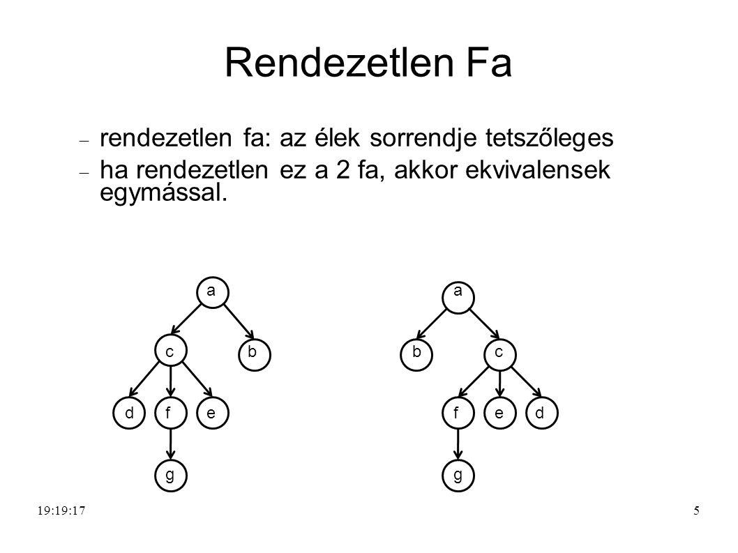 Rendezetlen Fa  rendezetlen fa: az élek sorrendje tetszőleges  ha rendezetlen ez a 2 fa, akkor ekvivalensek egymással.