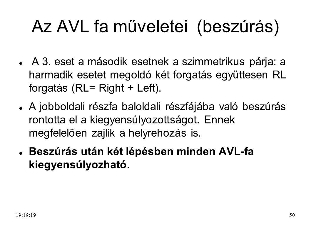 50 Az AVL fa műveletei (beszúrás) A 3.