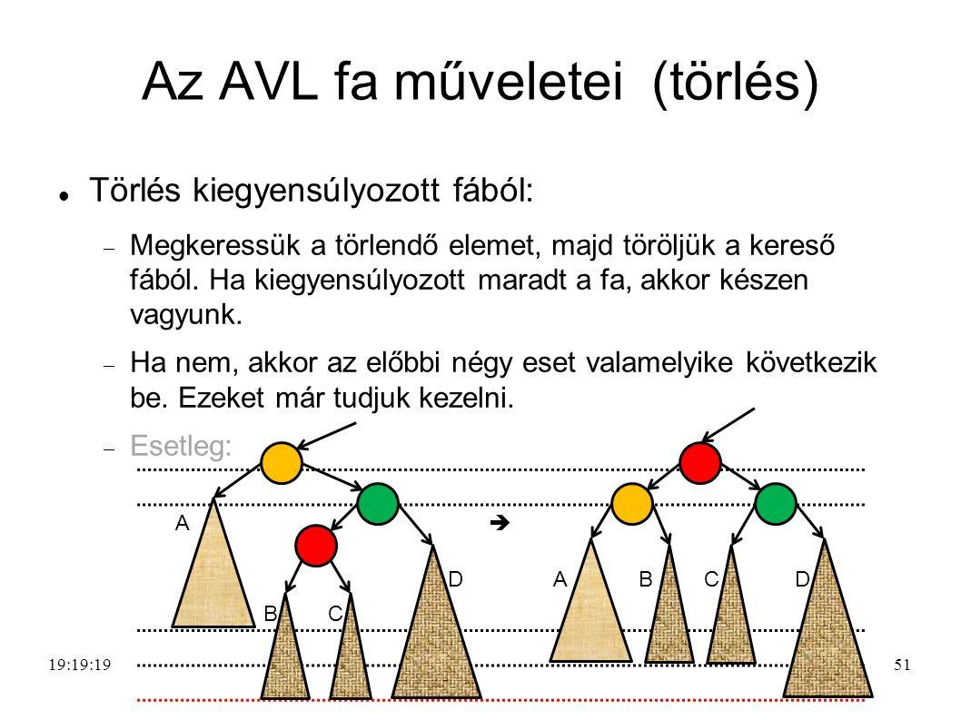 51 Az AVL fa műveletei (törlés) Törlés kiegyensúlyozott fából:  Megkeressük a törlendő elemet, majd töröljük a kereső fából.