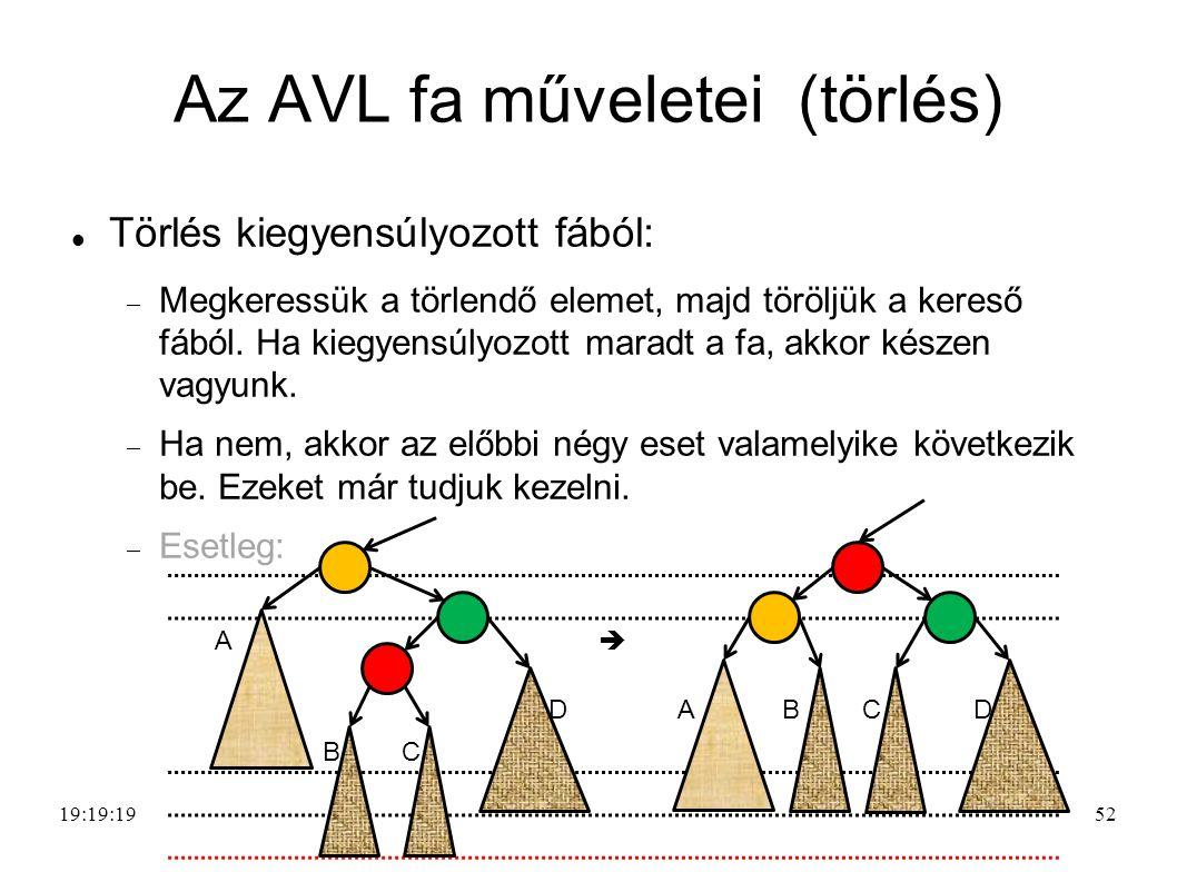 52 Az AVL fa műveletei (törlés) Törlés kiegyensúlyozott fából:  Megkeressük a törlendő elemet, majd töröljük a kereső fából.