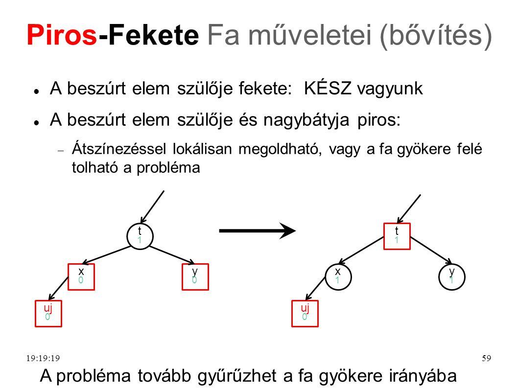 59 Piros-Fekete Fa műveletei (bővítés) A beszúrt elem szülője fekete: KÉSZ vagyunk A beszúrt elem szülője és nagybátyja piros:  Átszínezéssel lokálisan megoldható, vagy a fa gyökere felé tolható a probléma uj 0 t1t1 x0x0 y0y0 uj 0 t1t1 x1x1 y1y1 A probléma tovább gyűrűzhet a fa gyökere irányába 19:21:39