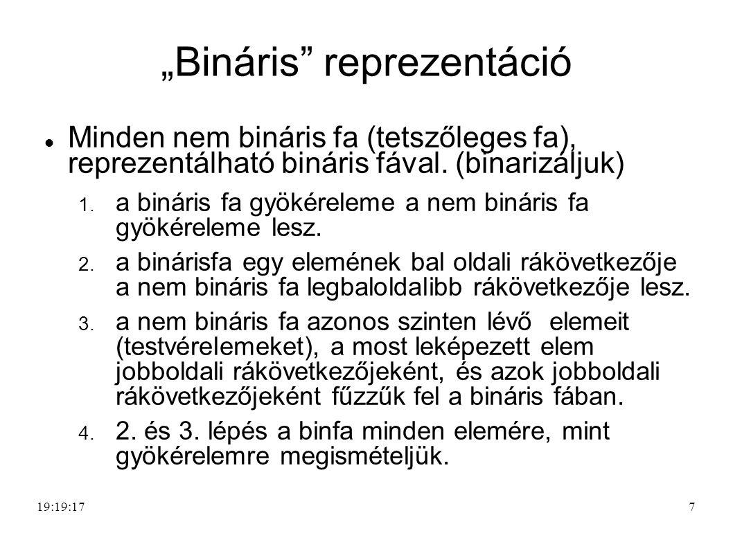 """""""Bináris reprezentáció Minden nem bináris fa (tetszőleges fa), reprezentálható bináris fával."""