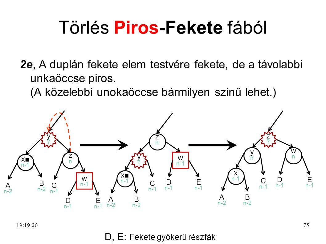 75 Törlés Piros-Fekete fából 2e, A duplán fekete elem testvére fekete, de a távolabbi unkaöccse piros.