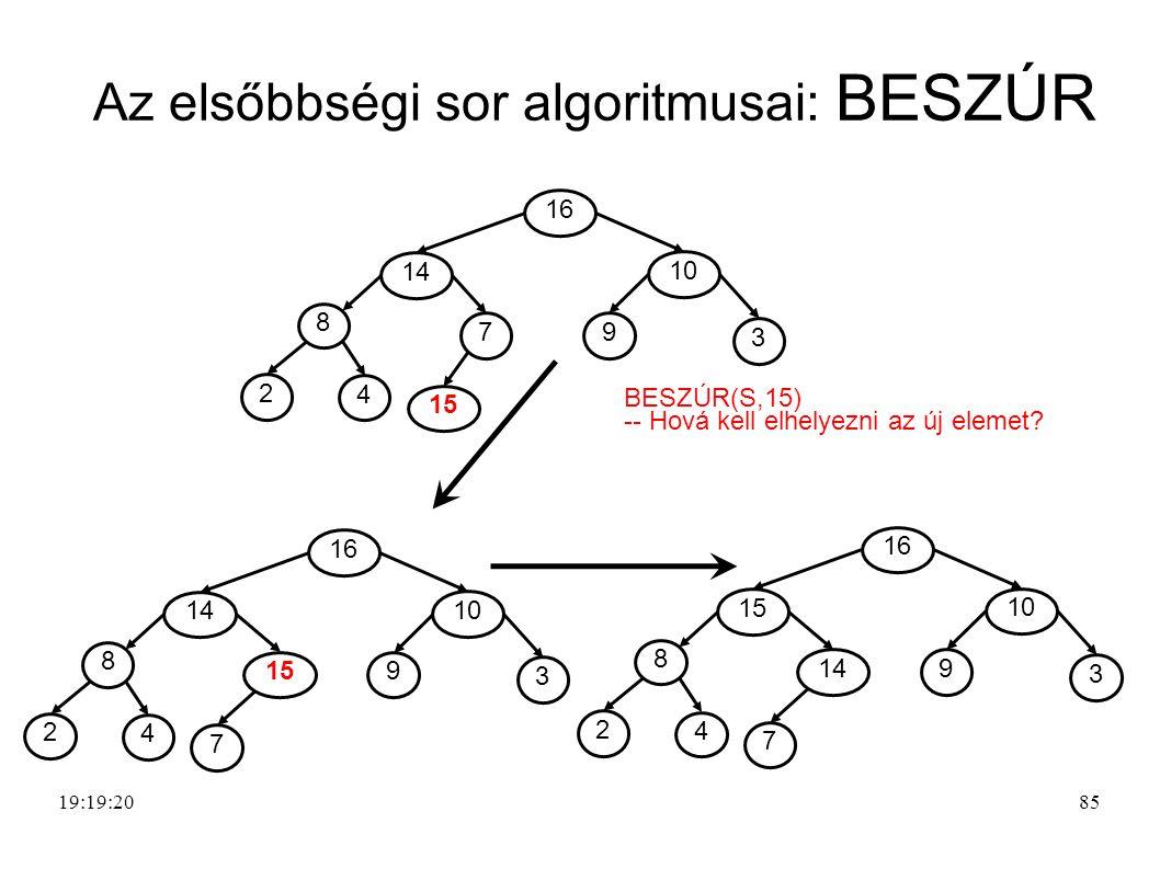 Az elsőbbségi sor algoritmusai: BESZÚR 8 4 2 7 14 9 3 10 16 15 8 4 2 14 9 3 10 16 7 8 4 2 14 15 9 3 10 16 7 BESZÚR(S,15) -- Hová kell elhelyezni az új elemet.