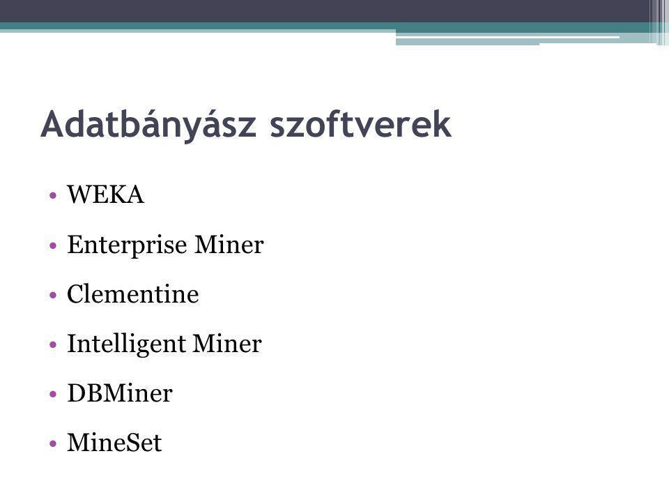 Adatbányász szoftverek WEKA Enterprise Miner Clementine Intelligent Miner DBMiner MineSet